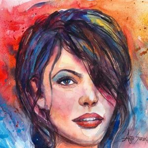 Watercolor contemporary portrait